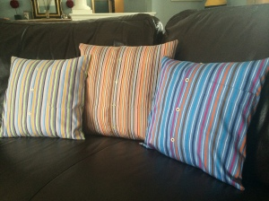 Pillows made from a men's shirts